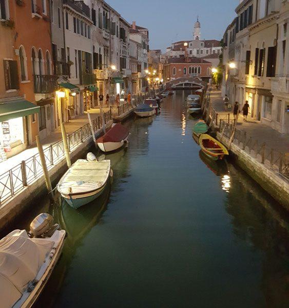 canali di Venezia di notte in verticale