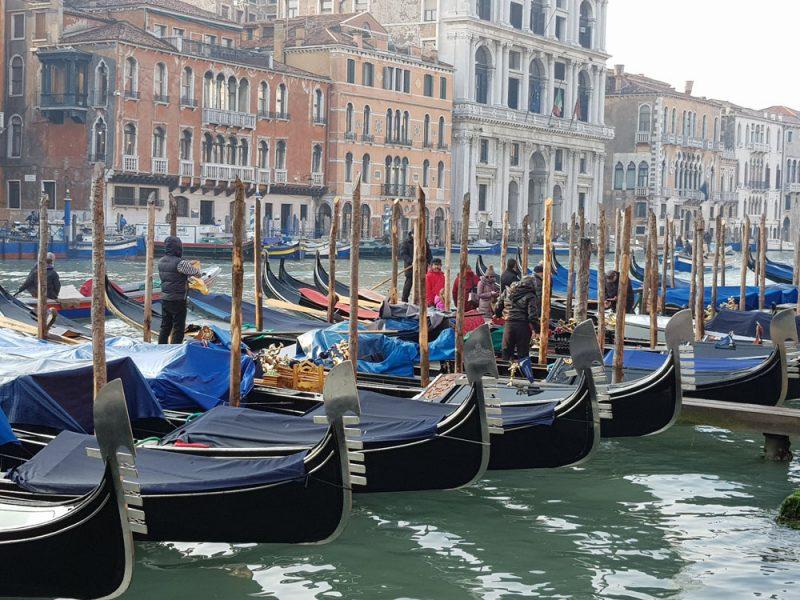 molte gondole viste da un NCC a Venezia